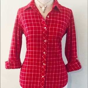 Lucky Brand Tops - Lucky Brand Bright Red Plaid Button Up